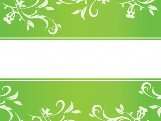Green Floral Ornaments with Copy Space