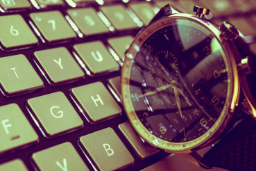 Hand Watch on the Keyboard