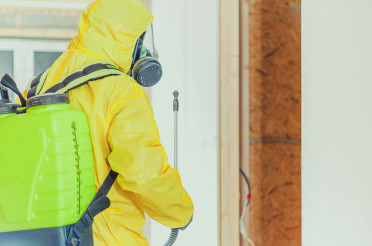 Hazmat Suit Worker Interior Disinfection Job
