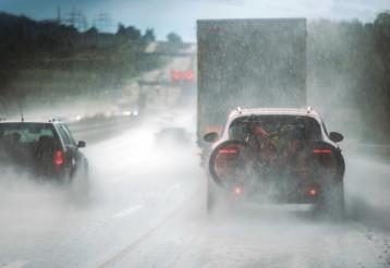 Heavy Rain Highway Traffic