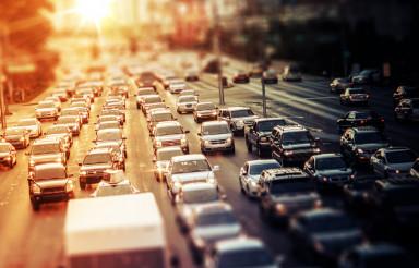 Highway Traffic at Sunset