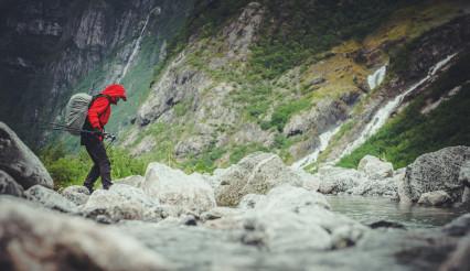 Hiker on the Scenic Alpine Trailhead
