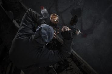 Homeless Caucasian Drug User and Alcoholic