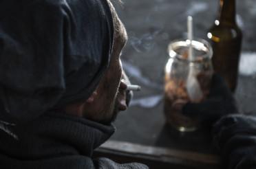 Homeless Men with Cigarette