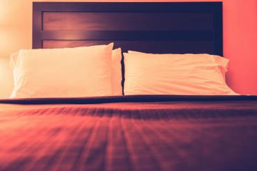 Hotel Bed Pillows Closeup