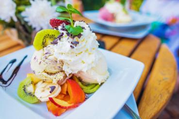 Ice Cream with Fruits Dessert