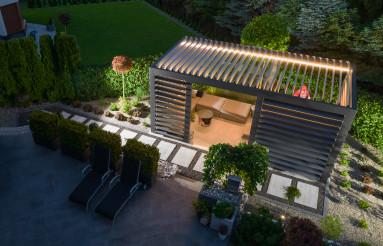 Illuminated Garden Gazebos with Mechanical Wall Blinds Aerial