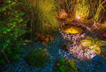 Illuminated Garden with Pond