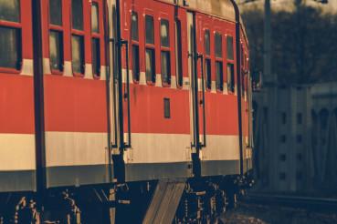 Intercity Train on a Railroad Track Curve