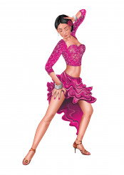 Isolated Illustration of Woman Performs Latino Dance
