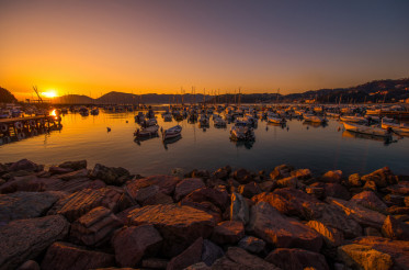 Italian Riviera Marina at Sunset