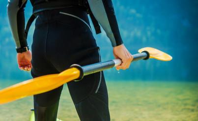 Kayaker with Paddle Closeup