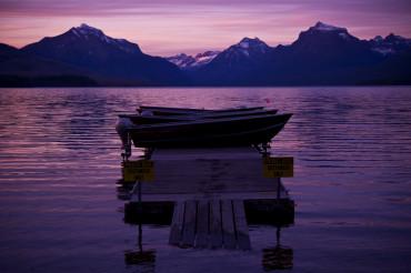 Lake, Boat and Sunset