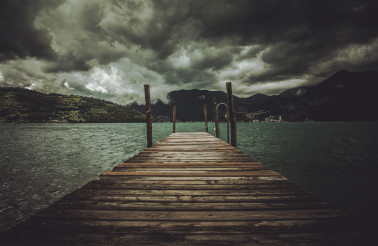 Lake Iseo Stormy Weather and the Wooden Pier