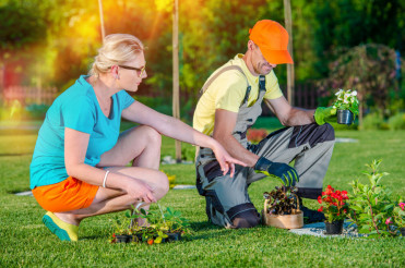 Landscaper Working with Client