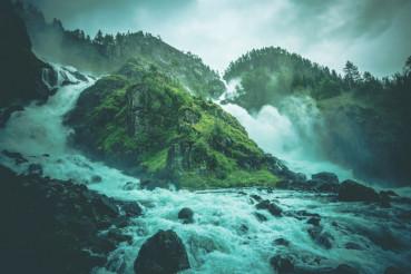 Latefossen Waterfalls Scenery