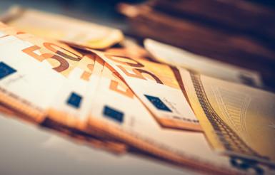 Laying Euro Cash Banknotes