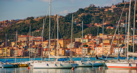 Sailboats In Liguria Region Of Italy.