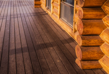 Log Home Cabin and Wooden Porch Floor Close Up