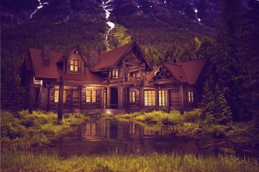 Log Home on the Lake
