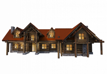 Log Home PNG Graphic