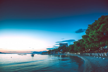 Makarska City Beach Dusk