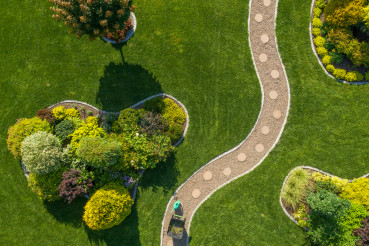 Mature Backyard Garden with Large Grass Lawn Aerial Vista