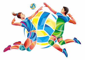 Men and Woman Volleyball Concept Illustration