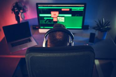 Men in Front of His Desktop Office Computer Home Office Job