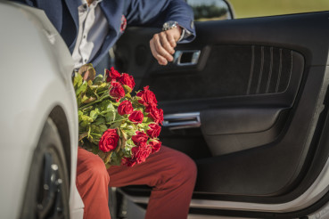 Men with Roses Bouquet