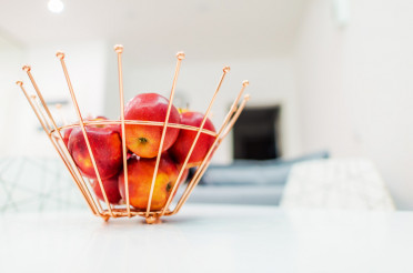 Metal Fruit Basket with Apples