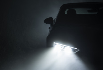 Modern Active Car LED Headlights Performing in Fog