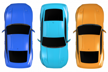 Modern Cars Top View PNG Illustration