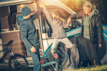 Modern Happy Family Camping