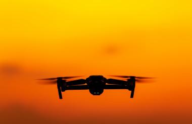 Modern Medium Weight Drone on the Sky