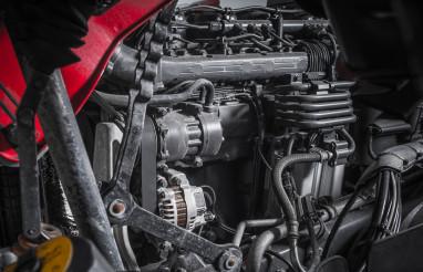 Modern Semi Truck Engine Close Up