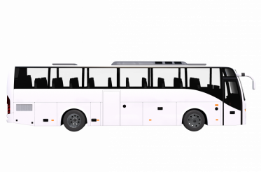 Modern White Bus Side View