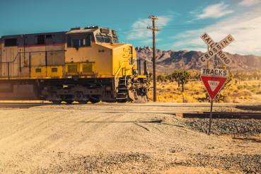 Mojave Desert Train Railroad Crossing
