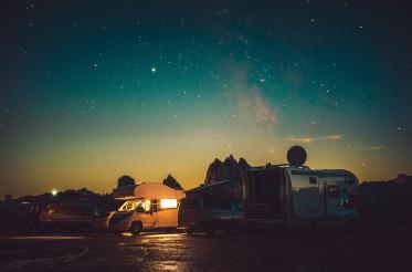 Mountain RV Park Motorhome Camping Under Starry Sky