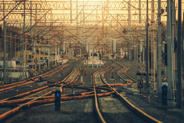 Multiple Railroad Tracks and Switches Railroad Infrastructure