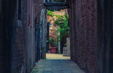 Narrow Italian Sidewalk
