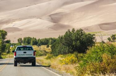 National Park Ranger in His Pickup Truck