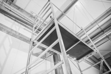 New Aluminium Scaffolding Assembled Inside Commercial Warehouse