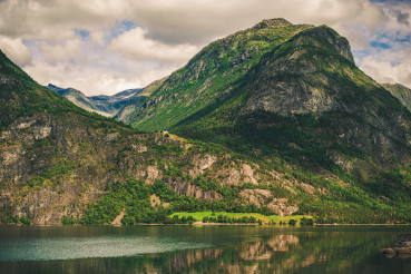 Panoramic View Of Mountains And River In Norway.