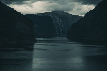 Norwegian Fjord With Steep Cliffs.