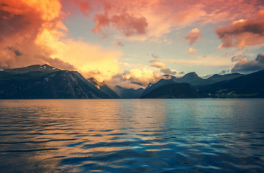 Norway Fjords Sunset Scenery