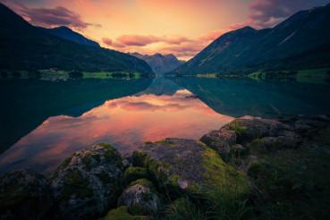 Norway Glacier Lake Sunset