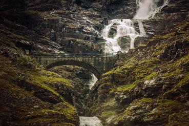 Trollstigen Road In Norwegian Mountains.