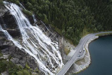 Norway Vestland Furebergfossen Waterfall Aerial View