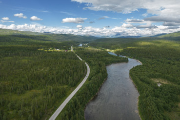 Norwegian E6 Highway and Scenic Summer Landscape
